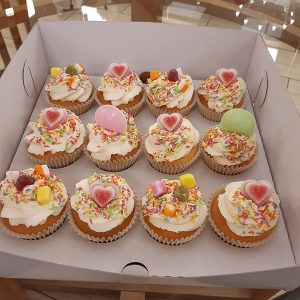 flying saucers and dolly mixture cupcakes